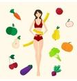 Slim girl fresh fruits and vegetables Proper vector image vector image