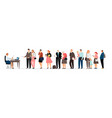 social worker and people queue vector image