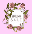 spring sale badge over hand drawn apple flowers on vector image vector image