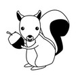 squirrel wild animal on black and white vector image