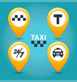 taxi service icons taxi map pins with checkers vector image vector image