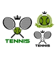 Tennis emblems with balls rackets and crowns vector image vector image