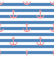 tile sailor pattern with a red anchor on white vector image vector image