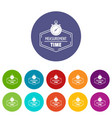timer icons set color vector image vector image