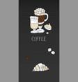 vertical coffee menu banner on black vector image vector image
