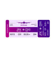 violet boarding pass vector image vector image