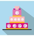 Wedding cake flat icon vector image