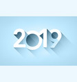 white 2019 new year sign on blue background vector image vector image