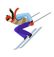 winter extreme sport man riding skis and jumping vector image vector image