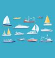 yachts and sailboats small sea transport vector image vector image