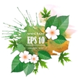 Background with leaves and flowers vector image