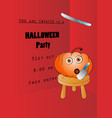 invitation design for halloween party with pumpkin vector image