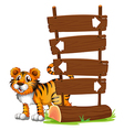A tiger at the back of a signboard vector image vector image