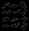 arrows set hand drawn sketch on black background vector image