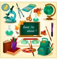 Back to school poster with stationery icons vector image vector image
