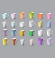 big set realistic white and colored cups vector image