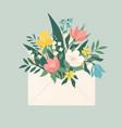 bouquet spring flowers inside envelope vector image vector image