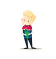 boy is holding a bouquet of flowers vector image