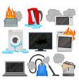 broken home appliances set damaged electrical vector image