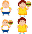 cartoon fat boy and girl with big hamburger vector image vector image