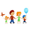 cartoon happy family on walk vector image vector image