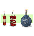 cartoon red dynamite and bomb with wick set vector image vector image