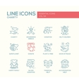 Charity - line design icons set vector image