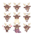 collection of cute little reindeer mascot poses vector image vector image