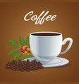 color poster porcelain cup of coffee in dish with vector image