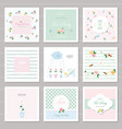 cute cards for girls with floral decorative vector image vector image