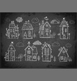 cute doodle houses on blackboard background vector image vector image