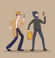 detective and thief in different character on vector image vector image