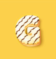 donut icing white upper latter - g font donuts vector image