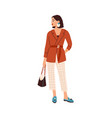 elegant woman in fashion outfit modern female vector image