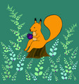 fantasy squirrel sitting on a stump in the woods vector image