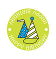 festive caps color sticker badge for birthday vector image