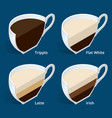 four isometric cups of coffee in a cut tripplo vector image vector image