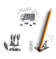 global warming - factory pollution vector image vector image
