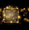 gold border on glitter background with stars vector image vector image