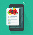 grocery shopping list app on cellphone vector image vector image