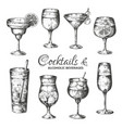 hand drawn cocktails vintage glasses with liquors vector image