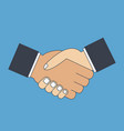 handshake flat icon vector image vector image