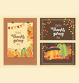 happy thanksgiving posters set dinner fall leaves vector image