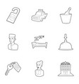 hotel staff icons set outline style vector image vector image