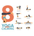 infographic 8 yoga poses for calming vector image
