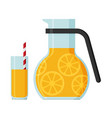 jug and a glass of juice flat vector image vector image