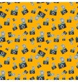 Lomography film camera on orange background vector image vector image
