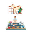 milkmaid with cow seller market with production vector image