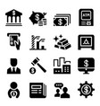 money financial icon set vector image vector image