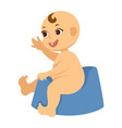 naked baby boy with one tooth on blue plastic vector image vector image